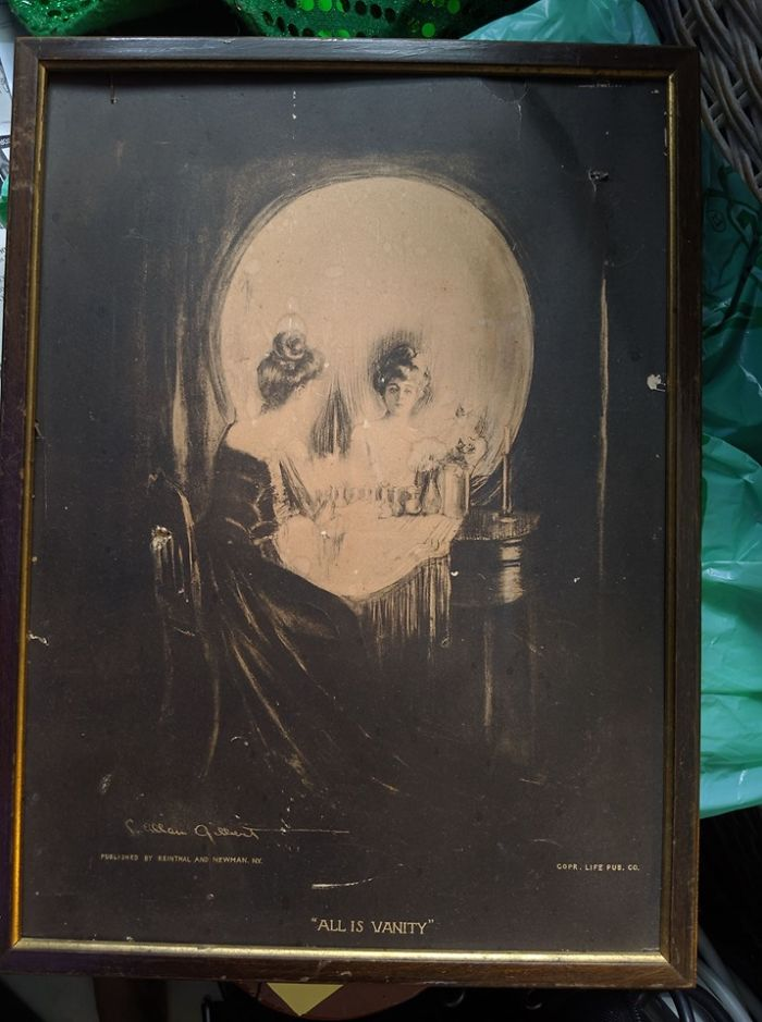 Great Find By My Daughter, 1902 Print Of All Is Vanity!!! Just In Time For Tricks And Treats