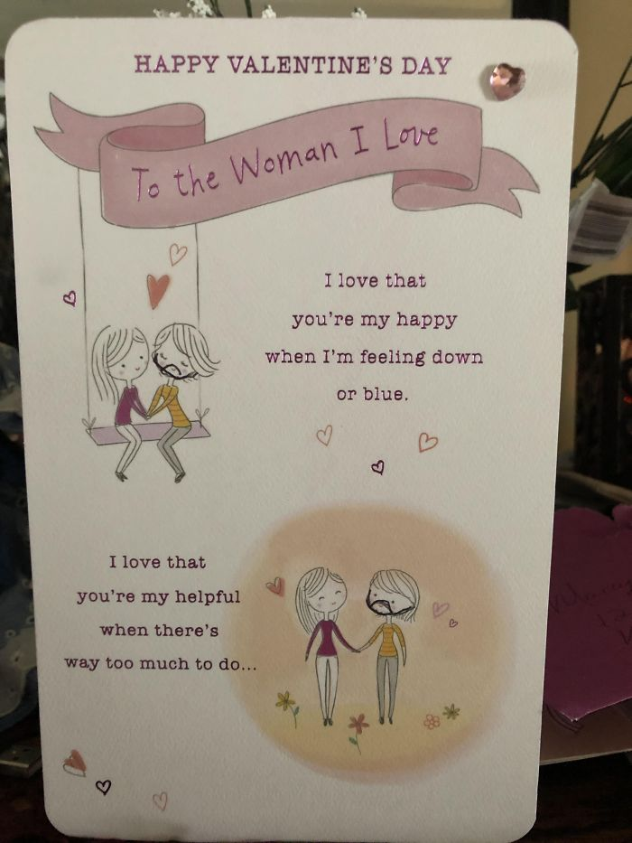 My Dad Accidentally Bought A Same Sex Valentine's Day Card And Instead Of Getting Another Card, He Drew A Little Beard On One Of The Women