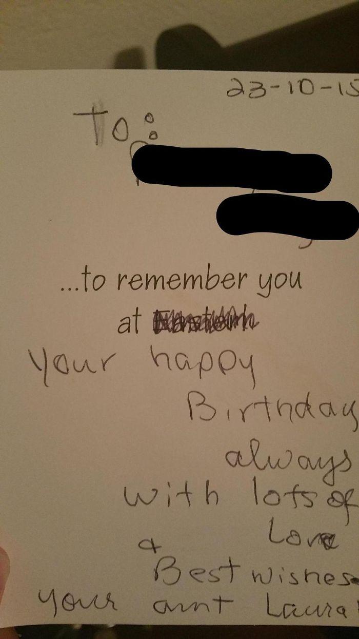 My Aunt Gave Me A Birthday Card...