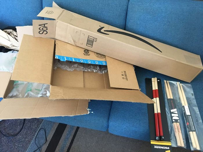 I Ordered Three Pairs Of Drumsticks From Amazon. They All Showed Up Separately In Boxes Way Bigger Than Necessary