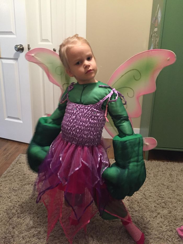 She Couldn't Decide Between The Two So She's The Hulk Fairy
