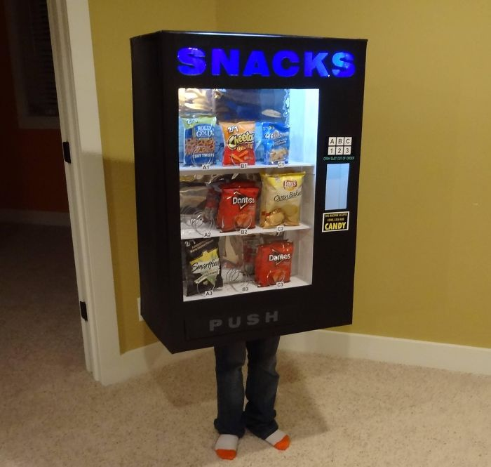 So Last Year My Kid Wanted To Be A Mailbox For Halloween. This Year, He Wanted To Be A Vending Machine. Here Are The Results