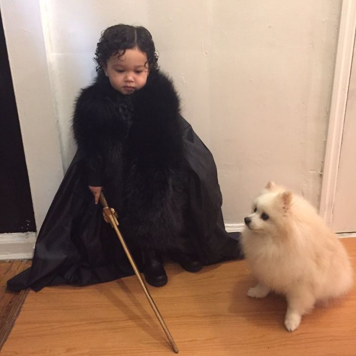 Dressed My Baby As Jon Snow For Halloween And Used My Aunt's Dog As Ghost