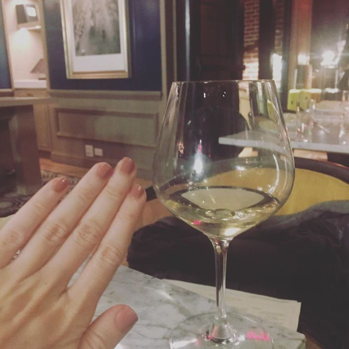 """When Ur #notengaged Chillin W A Cute Lil Glass Of Wine And Not With That """"Consultant"""" From Bumble Who Went To Machu Picchu And Apparently Took A Myers Briggs Test. Wut Did U Consult Cloning Everyone's Profile? Y R U All Named James? Y Do U All Have Multiple Bluetooth Headsets? Wut R Ur Credit Scores? U Know What Don't Answer Im Gonna Have A Pinot Grijjjj And A Bag A Chips Happy Tuesday Xo #blessed"""