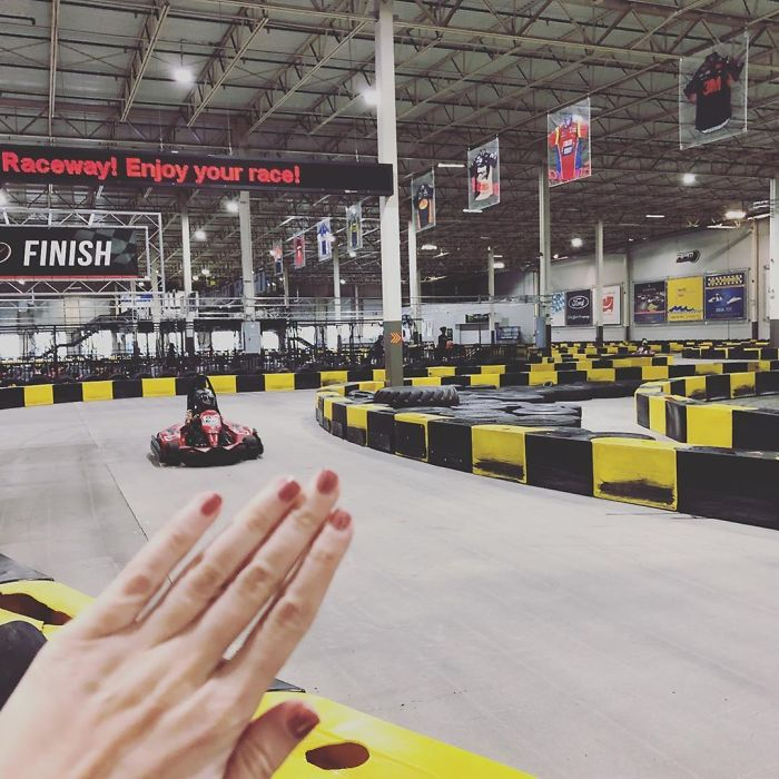"""When Ur #notengaged And U Go A Lil Race Car Driving Which Is Like So Cute Cute Cute In Ur Lil Helmet And Ur Racin Around On Ur Own And There R No Couples Cuz All The Cars R One Seat So Nobody Can Be Like """"Bebe I'll Drive"""" Like No U Won't Rodney Imma Speed Demon. #blessed Lol Where Am I But Also This Was Super Fun And Should We All Be Empowering Lady Go Kart Drivers!? Chickpeas Racing Army Omg Let's Make Jackets 😭"""