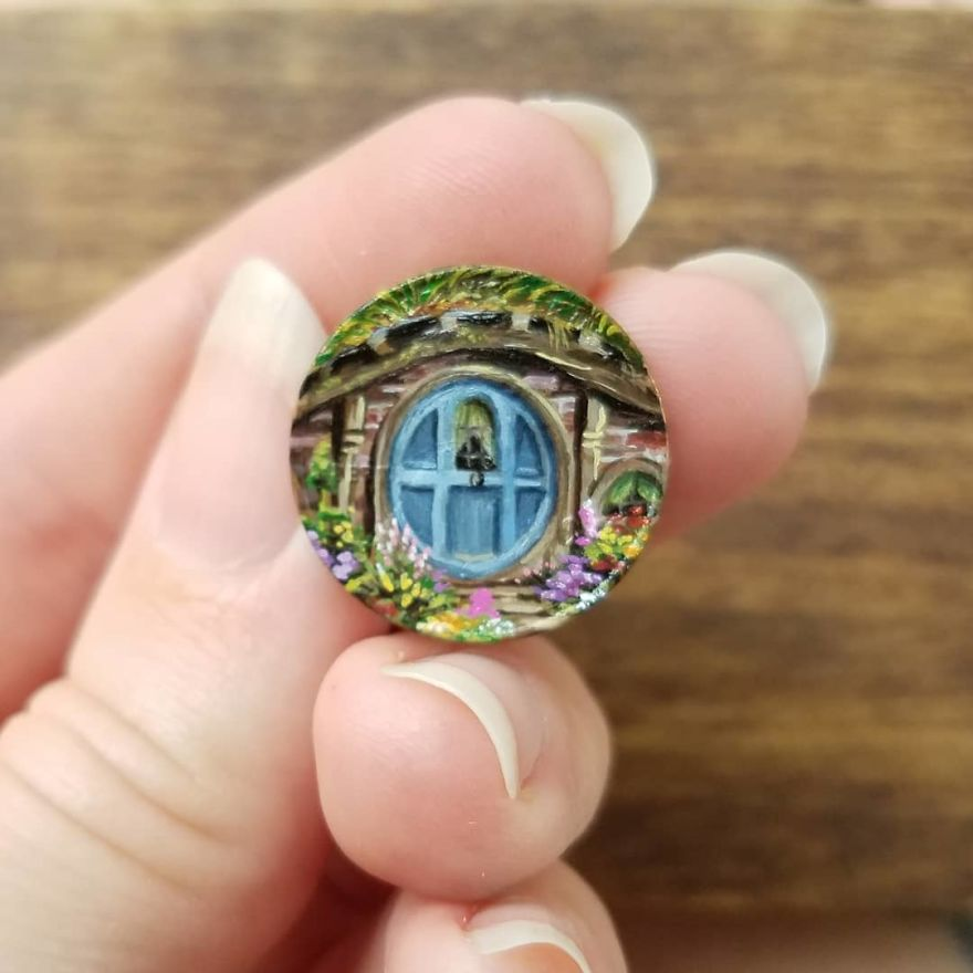 """""""It's A Dangerous Business, Frodo, Going Out Your Door. You Step Onto The Road, And If You Don't Keep Your Feet, There's No Knowing Where You Might Be Swept Off To."""" -Tolkien . . . . . . . #contemporarypainting #contemporaryart #miniature #mini #brymarie #landscape #hobbit #hobbithole #lotr #lordoftherings #instaartist #artoftheday #inspiration #creative #pennypainting #smallpainting #gamblinpaint"""