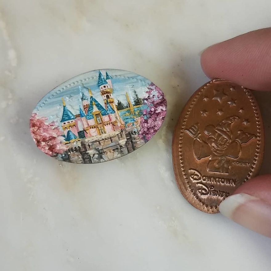Just About Finished With Sleeping Beauty's Castle Painted On A Pressed Penny From The Wonderful Disneyland! . . . . . . . . . . @disneyland #disneyart #disneyland #disney #sleepingbeauty #sleepingbeautyscastle #brymarie #contemporaryartist #contemporarypainting #landscape #artcollector #artwork #artworks #creativeuprising #fineart #artlover #artoftheday #instaartist #losangeles #newyork #miami #london #gallery #artgallery #forest