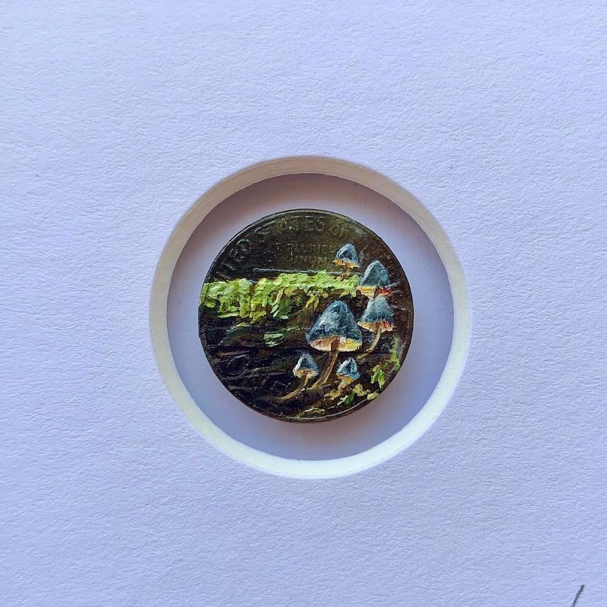 I Always Get Asked What Inspires Me To Keep Painting Everyday And I Always Have The Same Answer. Go Outside! You'd Be Surprised What Gorgeous Things You'll Find If You Only Take The Time To Look. 'Hidden Gems' Oil On Penny 2019 🍄available🍄 . . . . . . . . . #miniature #mini #oilpainting #art #tinypainting #coinart #coins #gamblin #hiking #nature #gooutside #statepark #mushrooms #mushroompainting #brymarie #brymariearts