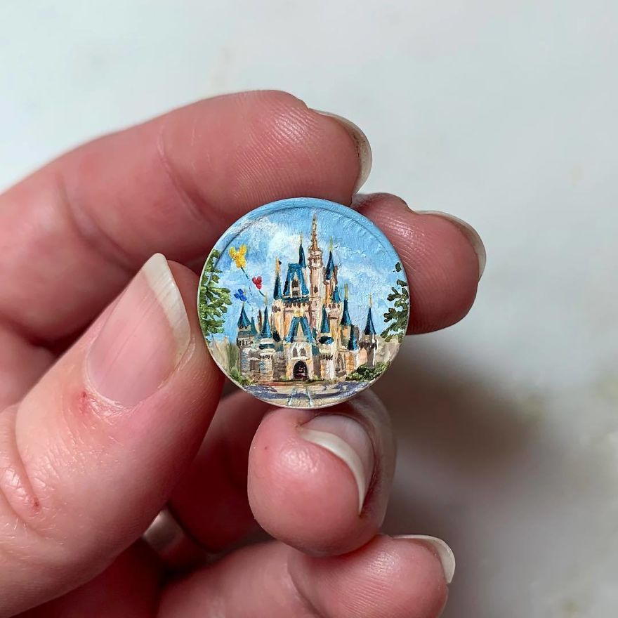 """""""They Say If You Dream A Thing More Than Once, It's Sure To Come True."""" -Aurora Sleeping Beauty's Castle- Oil On Penny 2018 . . . . . . . . . #disneyland #disneylandcalifornia #sleepingbeauty @disney @disneyland #sleepingbeautycastle #castle #painting #oilpainting #miniaturepainting #miniart #miniatureart #tinyart"""