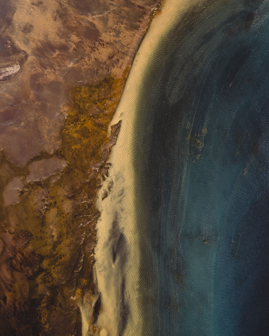 This Drone Picture Shows A River Rich In Sulfur, Blending With Fresh Ocean Water