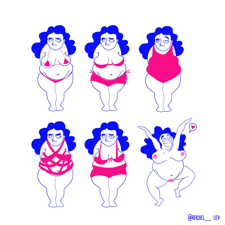 Funny Illustrations Of A Random Girl And Her Random Life - Struggling With Body Positivity !