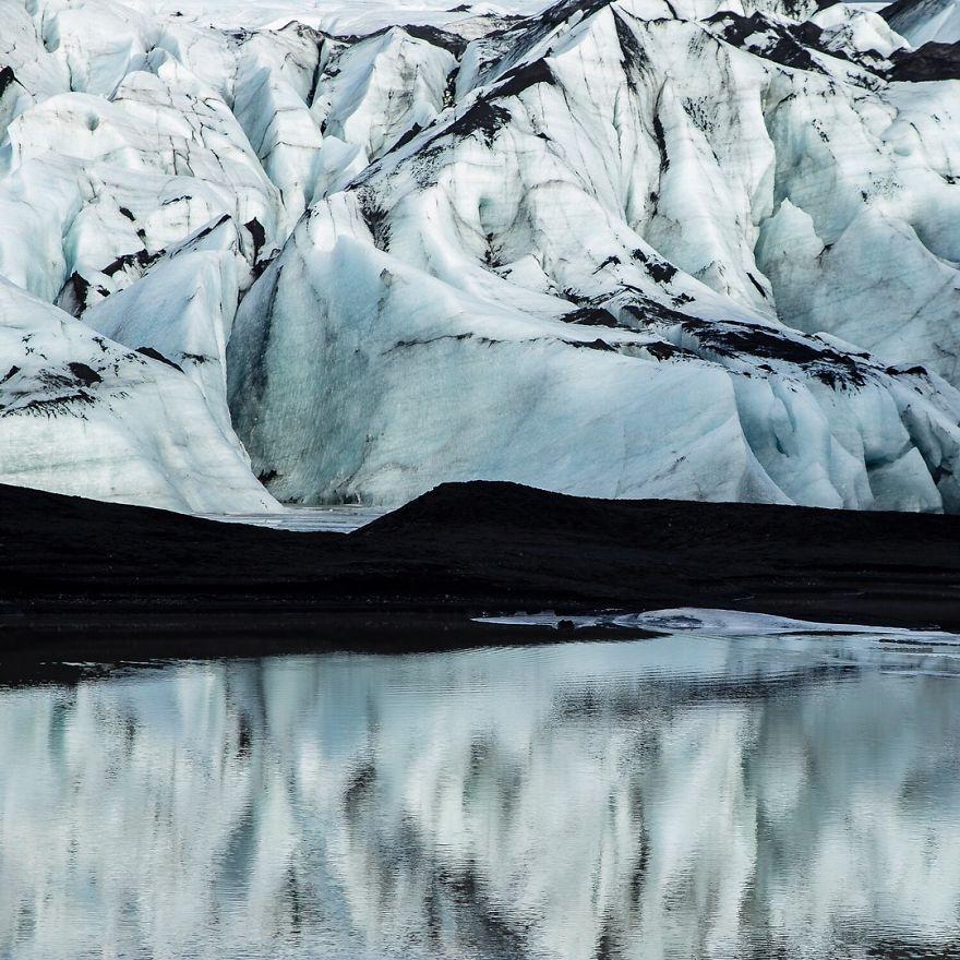 Glacier Slowly Melting Into Its Lagoon