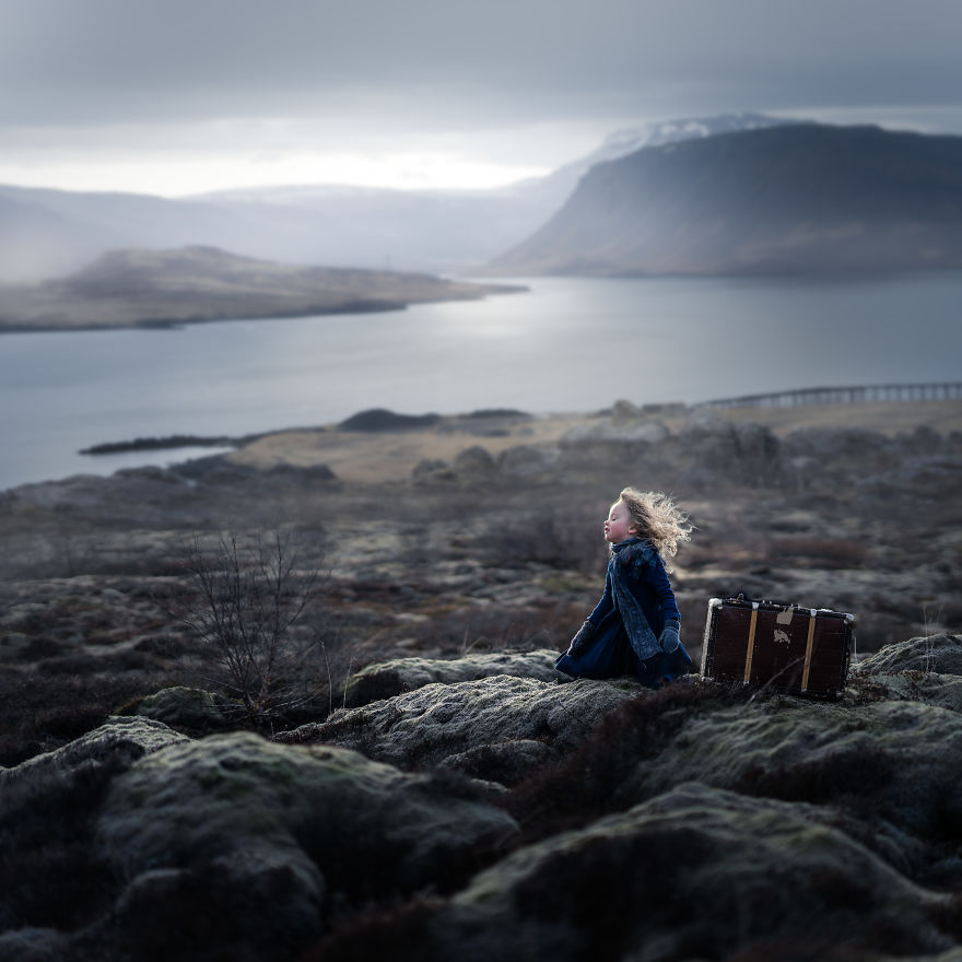 Iceland- Girl At A Icelandic Fiord