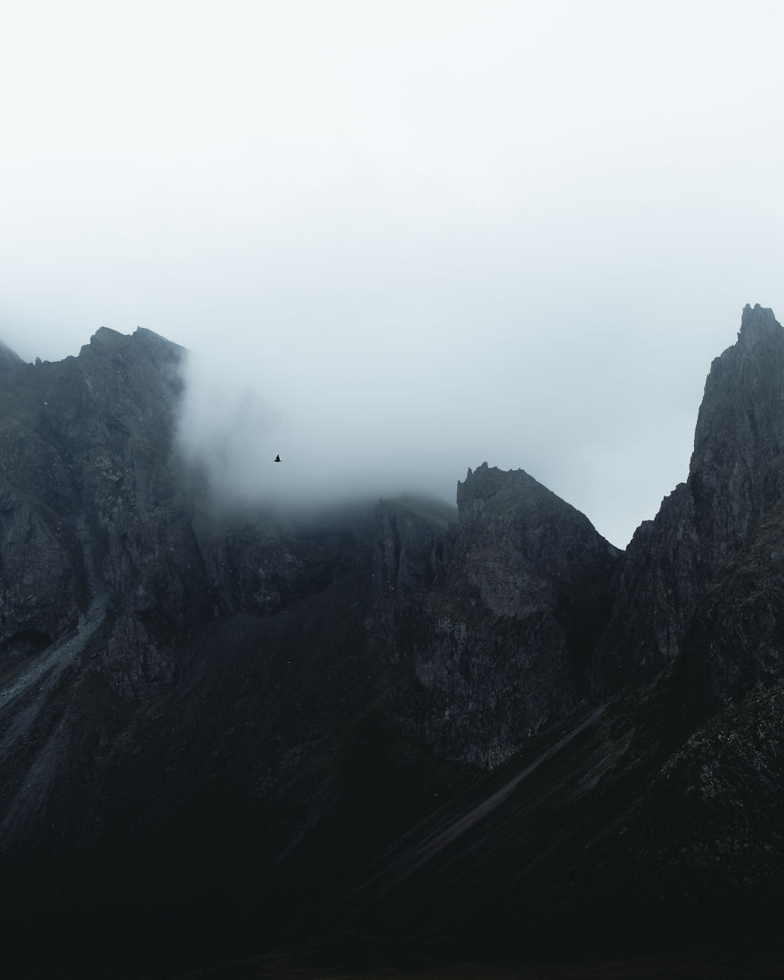 Sharp And Rocky Peaks In The Fog