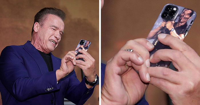 Someone Spots That Arnold Schwarzenegger Has The Funniest iPhone Case