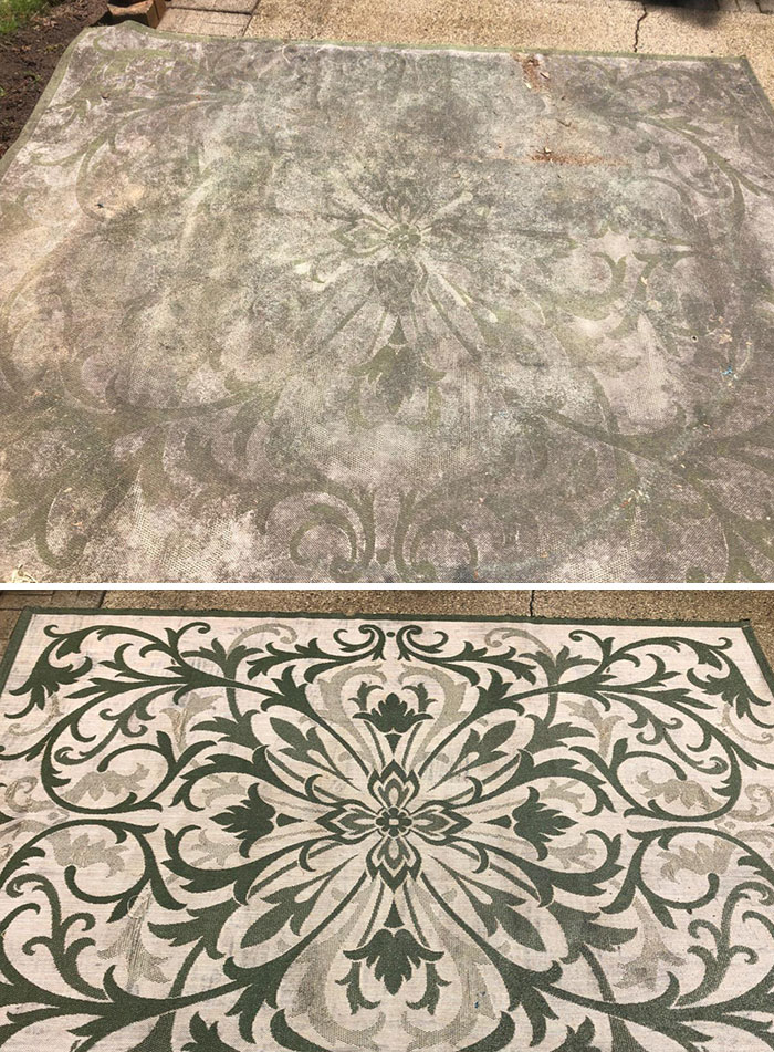 I Power Washed This Rug Left Behind By The Old Home Owners. I Had No Idea The Design Was This Intricate
