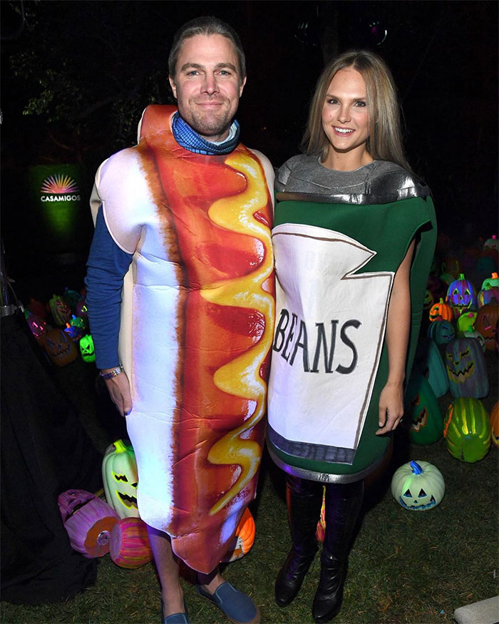 Stephen Amell And Cassandra Jean As Hotdog And Beans