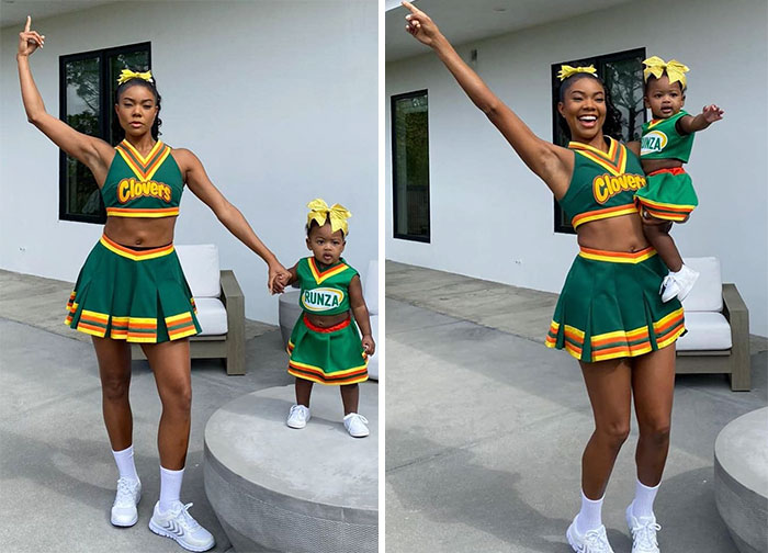 Gabrielle Union And Her Daughter Kaavia Dressed As Clovers Cheerleaders