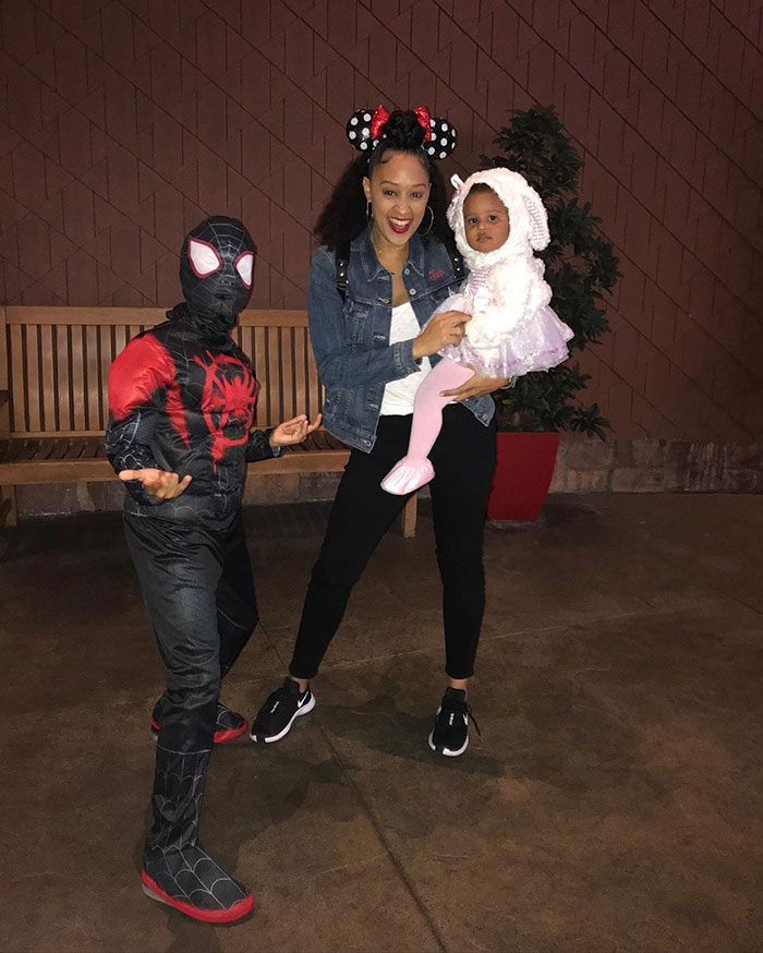 Tia Mowry's Daughter Cairo Dressed As A Lamb, While Her Son Cree Dressed As Spider-Man