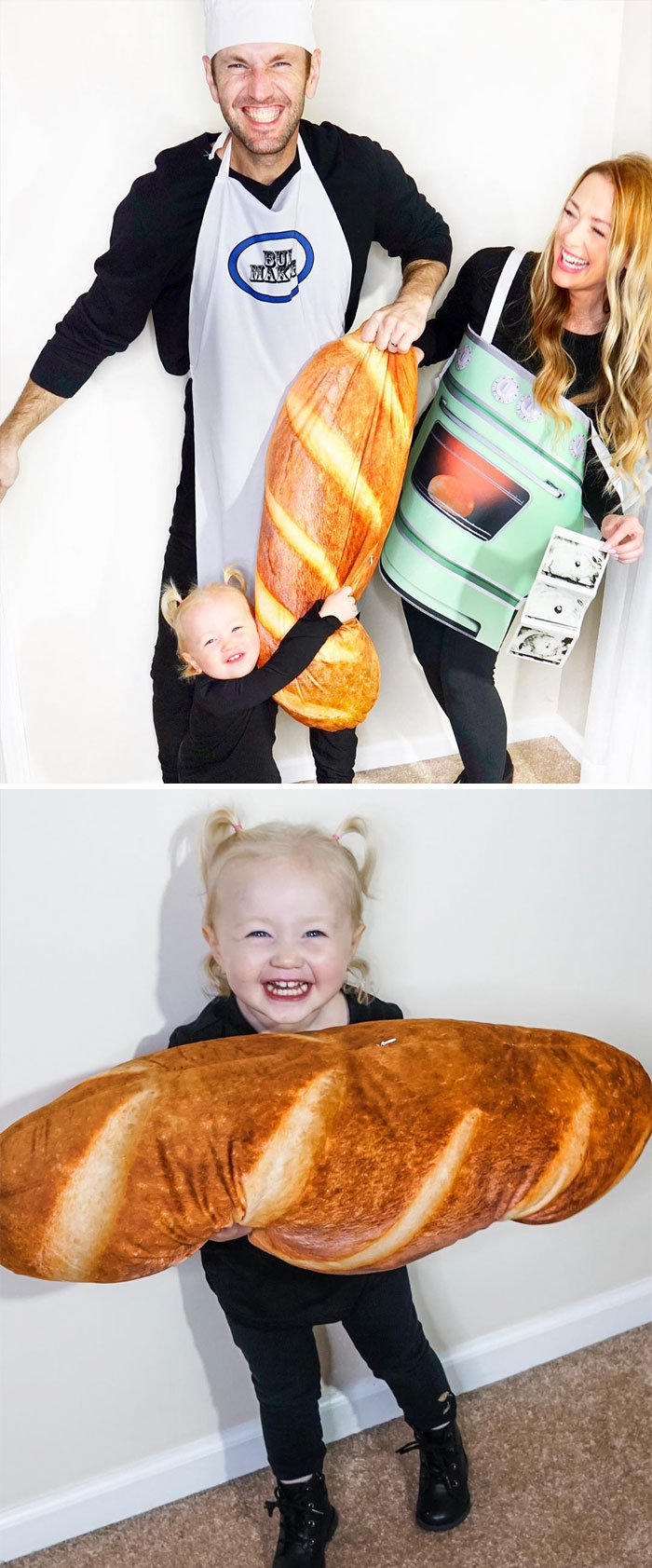 Jamie Otis And Her Family Dressed As A Baker, Bread Loaf, And Oven With A Bun In It