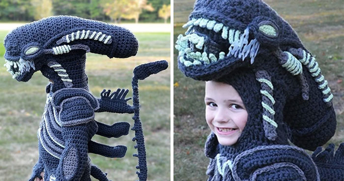 Woman Crochets Full Body Halloween Costumes For Her Kids (11 Pics)