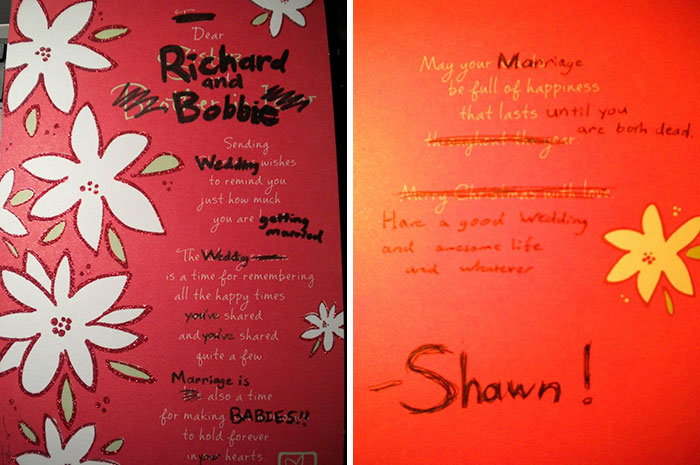 I Decided To Go The Nontraditional Method Of Getting A Card To Congratulate My Roommate And His Fiance On Getting Married. Nailed It?