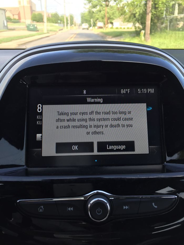 My Car Displays A Long Distracting Message Reminding You To Not Participate In Distracted Driving–while Driving