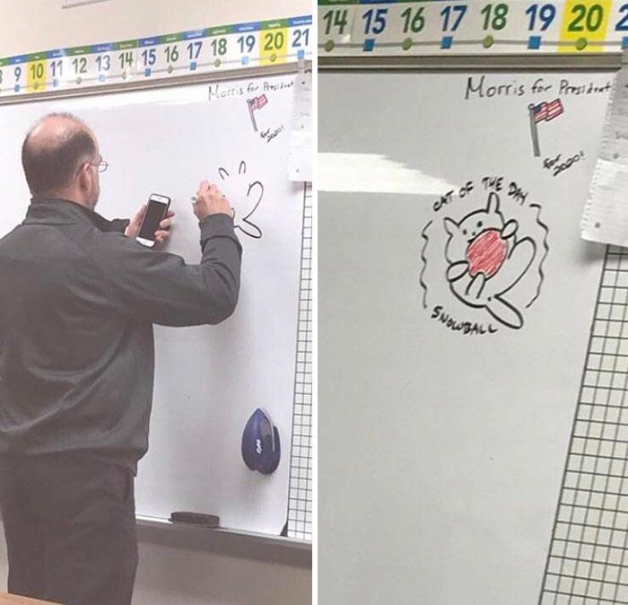 Hay un estudiante que cada día dibuja un gato en la pizarra. Hoy no estaba, así que el profesor lo hizo por él