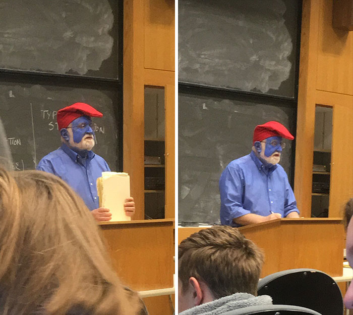 This College Professor Has Been Dressing Up As Papa Smurf For Halloween For Five Years