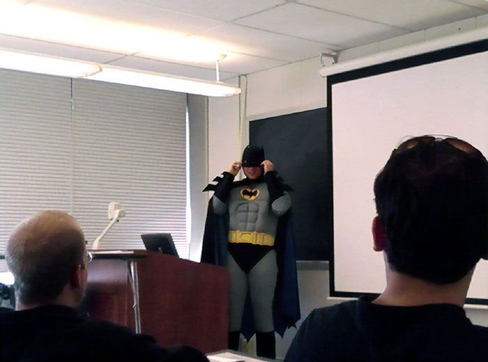 My Teacher Said If The Class Could Get An 80% Test Average On Our First Exam He Would Dress Up As Batman For A Day. A Pic From The Day We Got Our Test Results Back