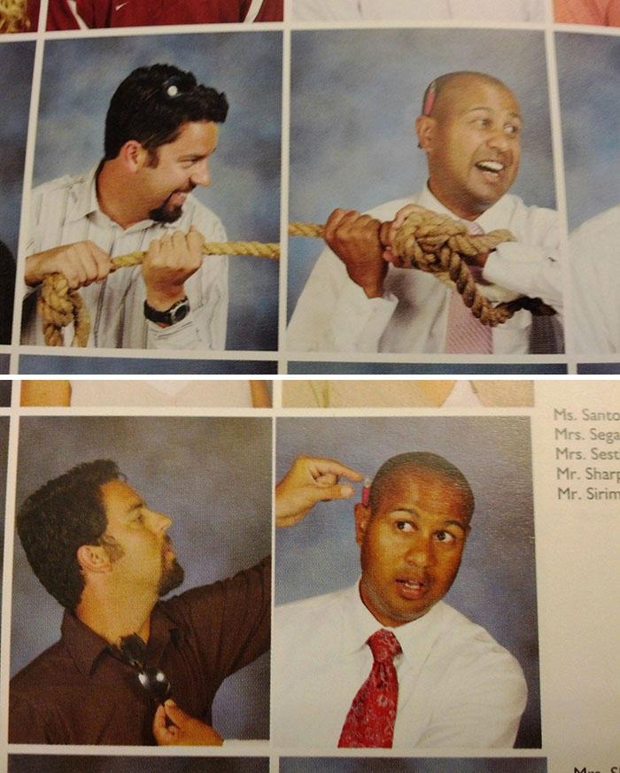 Foto de estos 2 profesores en el anuario. 2 años seguidos