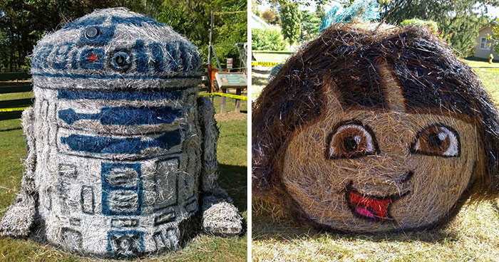 My Sculptures Of Famous Characters On Hay Bales Will Put You In The Halloween Mood (14 New Pics)