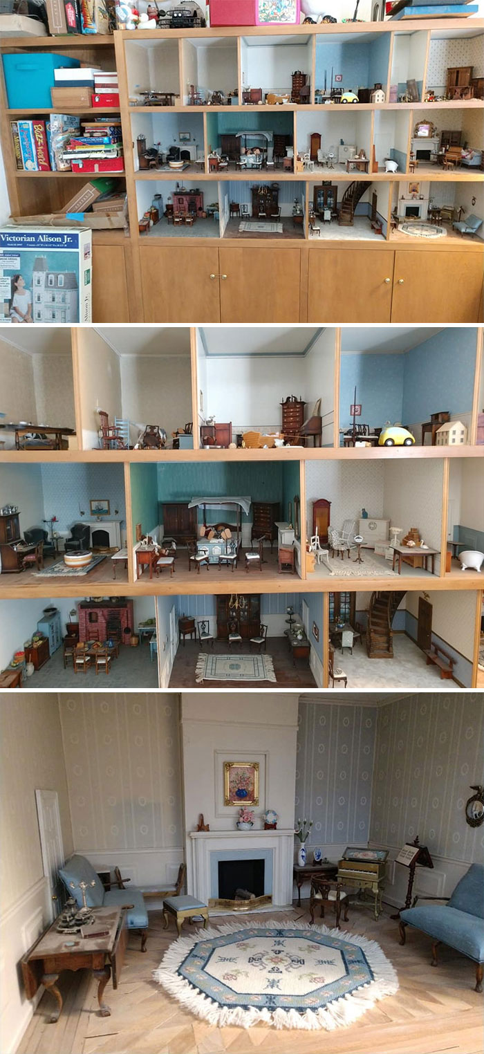 We Moved Into A Vintage 1962 House With Everything Original. This Dollhouse Was Built Into The Cabinets In One Of The Rooms And I Was Gifted It To Keep Safe And Enjoy. Mary Built This Over A Ten Year Period While She Was Sick