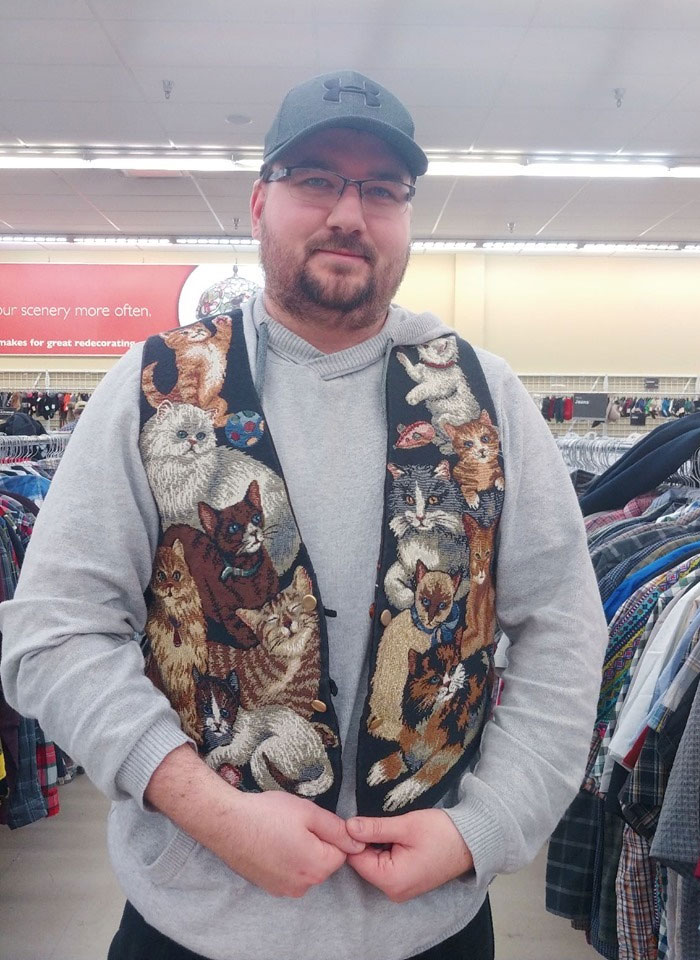 My Husband Patrick Is A Massive Cat Lover, To The Point He's Now Called Catrick. Today We Found Him The Most Purrrfect Vest