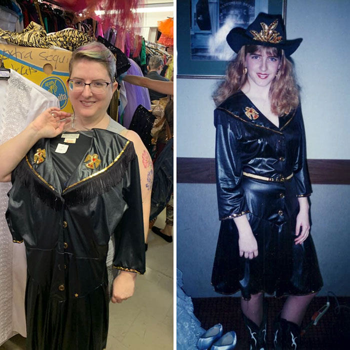 I See The Occasional Post Where Someone Finds Their Own Art Etc, So I Guess This Is Mine. The First Photo Is Me At A Vintage/Thrift Sale On Sat, Holding A Dress. The Second Is Me, Age 16, Wearing The Exact Same Dress!