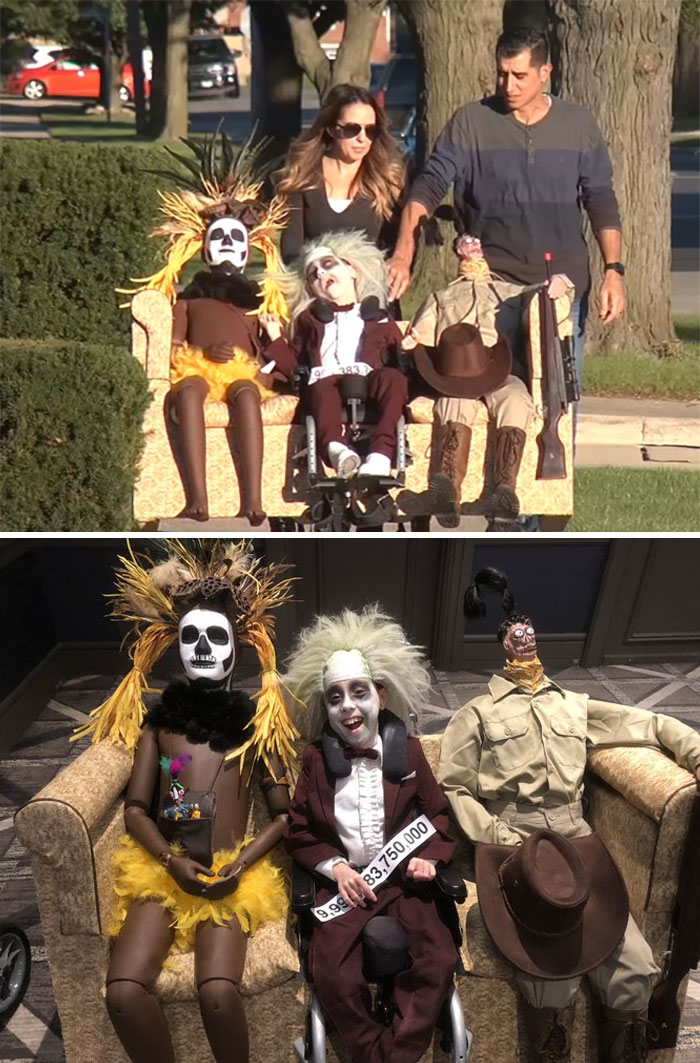 "9-Year-Old With Cerebral Palsy Dresses Up As ""Beetlejuice"" For Halloween"