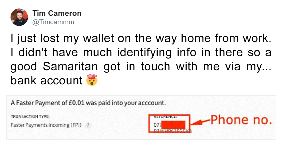 This Man Got His Lost Wallet Back Thanks To 1p Bank Transfers From Good Samaritan