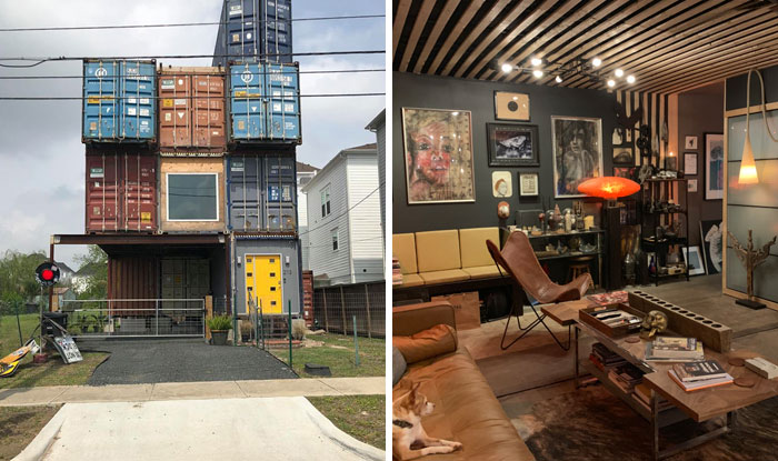 Man Uses 11 Shipping Containers To Build His 2,500 Square Foot Dream House, And The Inside Looks Amazing