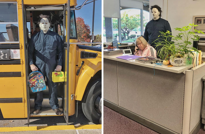 This Teacher Dresses Up As Michael Myers From The 'Halloween' Movie And Gets A Hilariously Scary Photoshoot (32 Pics)