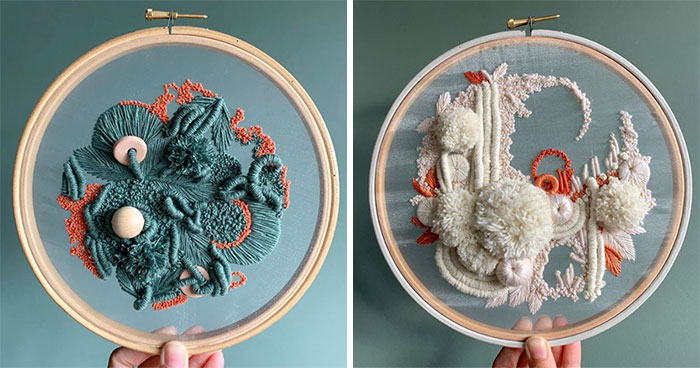 My Three-Dimensional Embroideries Inspired By Oceanic And Botanical Forms