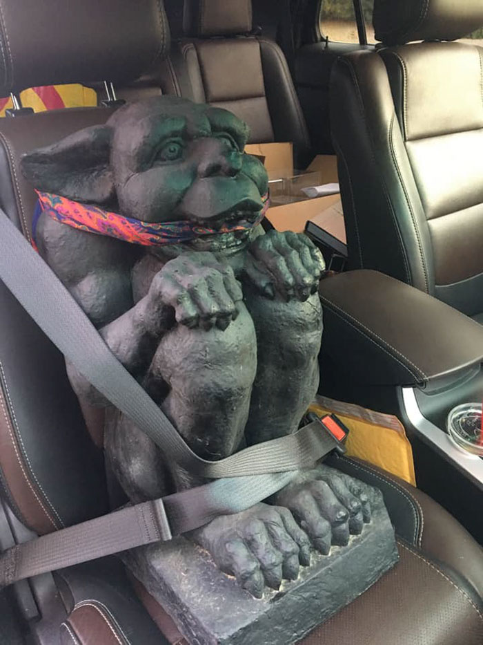 My Mom Found Three Porch Gargoyles At A Barn Sale. One Of Them Rode Shotgun With Me Back To North Dakota From Idaho... A Little Too Chatty, But Great Company