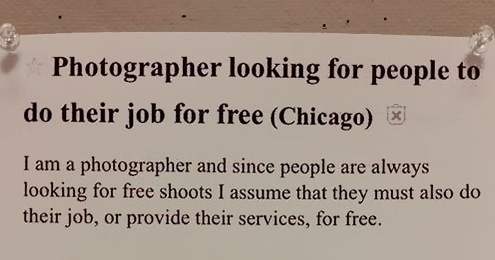 Photographer Shows How Absurd People Asking For Free Pics Are With An Ad Asking For Other Services For Free