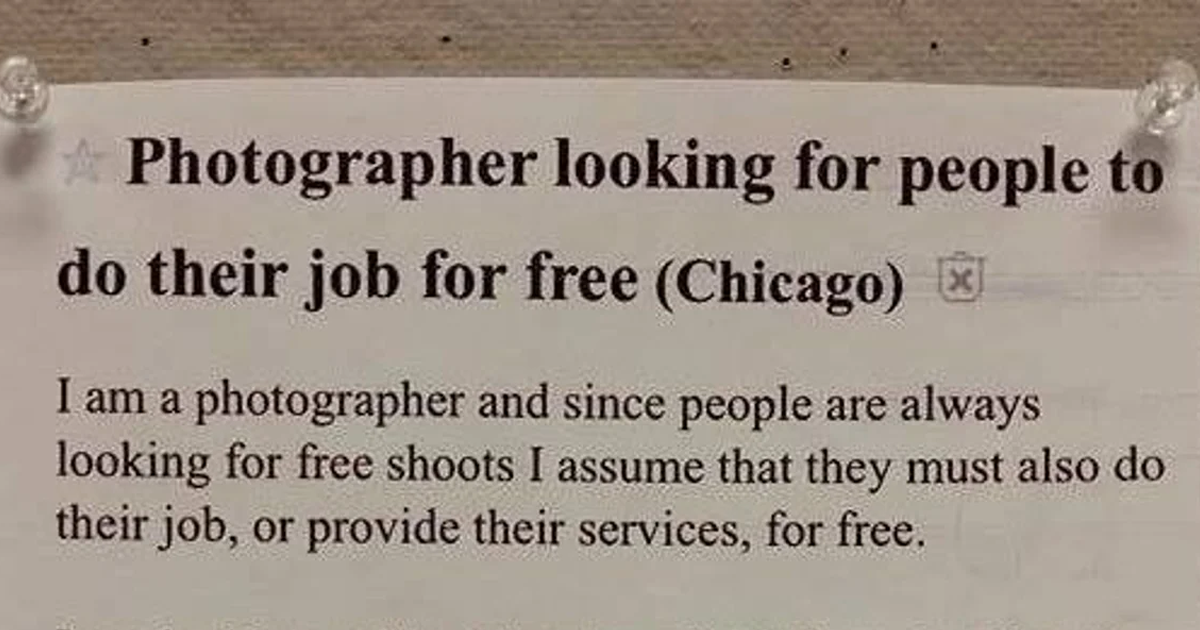 Tired Of Constantly Getting Asked To Work Free, This Photographer Posts A Sarcastic Response