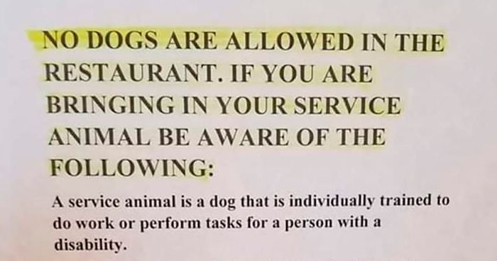 Tired Of People Bringing In Their Emotional Support Pets