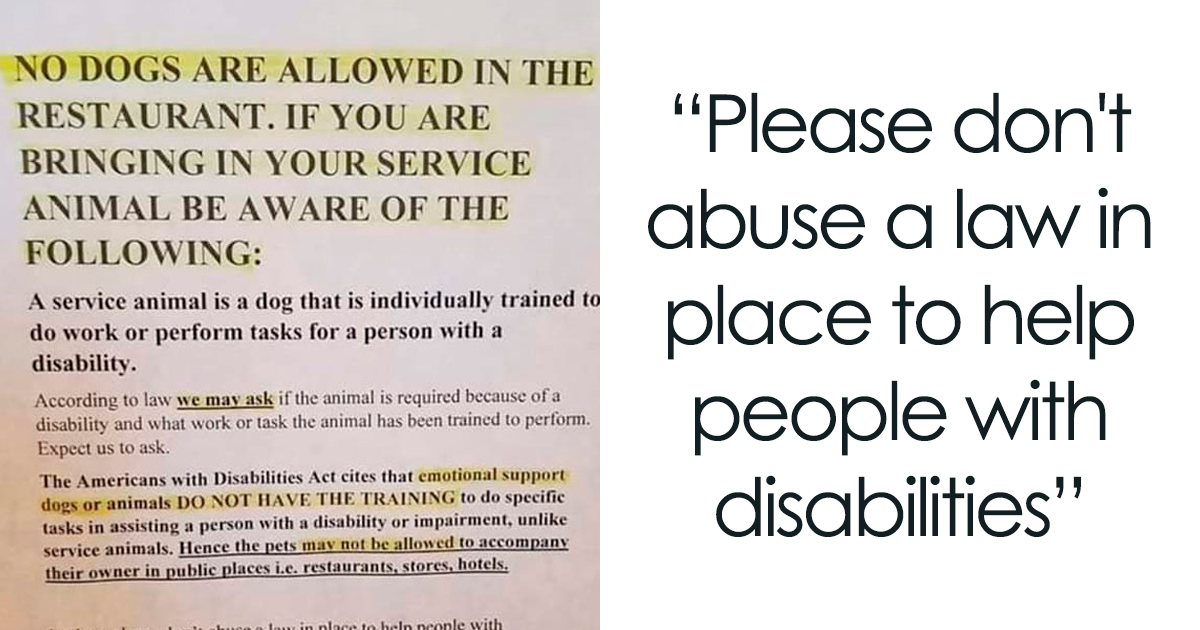 People Are Abusing Emotional Support Animal Laws, And This Restaurant Sign Explains Why It's Wrong