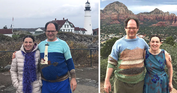 Guy Knits Sweaters Of Places And Then Goes To Those Places While Wearing Them (30 New Pics)