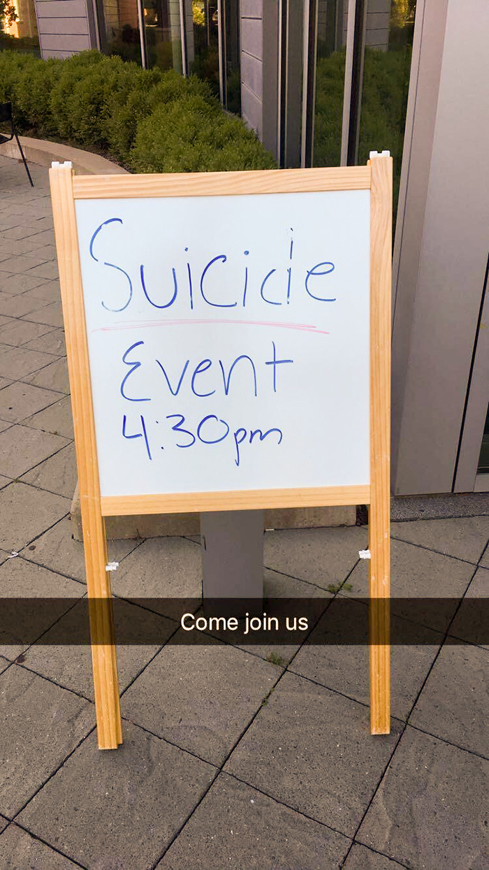 So My Campus Had A Suicide Awareness And Prevention Day