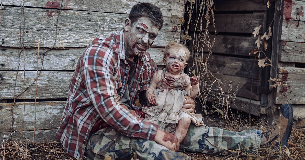Dad Poses With 11-Month-Old Daughter In A Zombie-Themed Photoshoot, And It Goes Viral