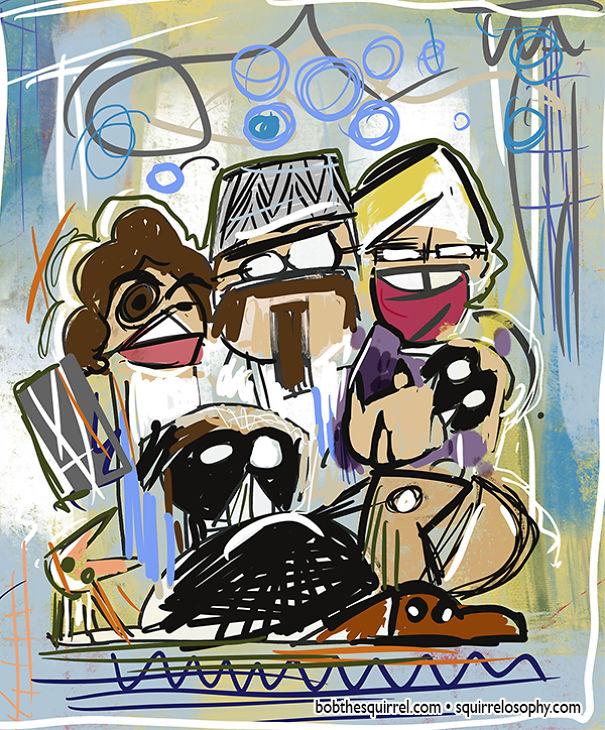 In The Style Of Artist Jean-Michel Basquiat