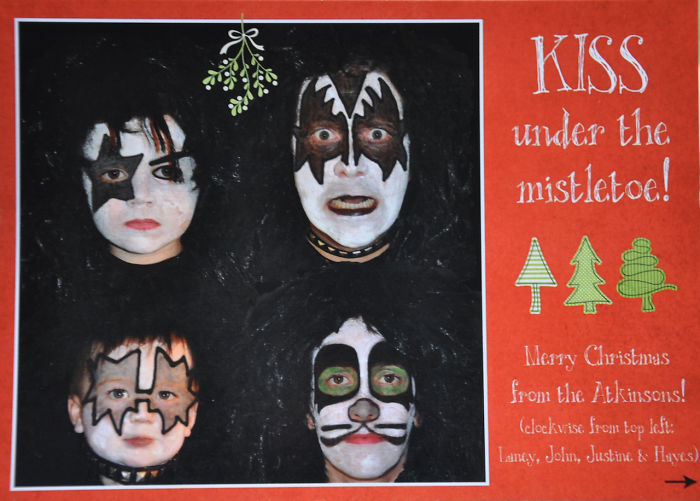 Kiss Under The Mistletoe! Our Kids Were Just 3 And 1 Here. ;)